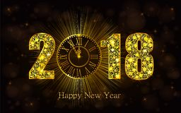 Happy New Year 2017. Vector illustration with gold clock. Happy New Year 2018. Background with golden sparkling texture. Gold Numbers 1, 2, 8 with golden clock royalty free illustration
