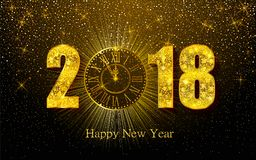 Happy New Year 2017. Vector illustration with gold clock. Happy New Year 2018. Background with golden sparkling texture. Gold Numbers 1, 2, 8 with golden clock stock illustration
