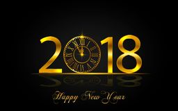Happy New Year 2017. Vector illustration with gold clock. Happy New Year 2018. Background with golden sparkling texture. Gold Numbers 1, 2, 8 with golden clock Royalty Free Stock Photos