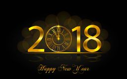Happy New Year 2017. Vector illustration with gold clock. Happy New Year 2018. Background with golden sparkling texture. Gold Numbers 1, 2, 8 with golden clock Stock Image