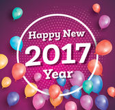 Happy New Year 2017. Vector illustration. Greeting card with colorful balloons, halftone and white frame Royalty Free Stock Image