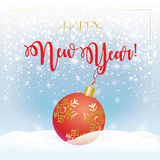 Happy New Year 2017. 2017 Vector illustration for Merry Christmas and Happy New Year greeting card background. Red Christmas ball and Callygraphy lettering stock illustration
