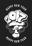 Happy new year. Vector illustration of new year, the number and sign of the rooster around the rotating mechanical parts Black and white Stock Photos