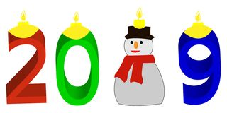 Red Blue and Green Happy New Year illustration with snowman royalty free stock photography