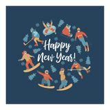 Happy new year. Vector illustration. A set of characters engaged in winter sports and recreation. Happy New Year. Winter sports and fun activities in the snow vector illustration