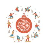 Happy New Year. Vector illustration. A set of characters engaged in winter sports and recreation. royalty free illustration