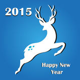 Happy New Year 2015. Vector illustration of 2015 and happy new year of sheep with a raindeer on a blue background Royalty Free Stock Images
