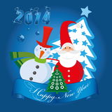 Happy New Year. Vector illustration of the snowman and santa claus vector illustration