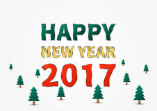 Happy New Year 2017 vector illustration. With trees Royalty Free Illustration