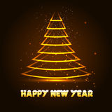Happy New Year vector illustration with Xmas tree. Glowing in the dark vector Royalty Free Stock Photos