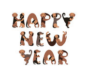 Happy New Year! Vector Inscription of dogs letters. Happy New Year! Vector Inscription of dachshund dogs letters. Dog - symbol of 2018 Stock Photo