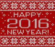 Happy 2016 new year vector knitted greeting card Stock Photo