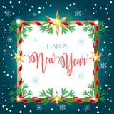 Happy New Year 2017. Vector 2017 Happy New Year lettering greeting card with fir tree, ribbon, christmas frame, fall snow, snow, snowflakes. Christmas decoration Royalty Free Stock Image