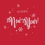 Happy New Year. Vector Happy New Year lettering greeting card with snowflakes, red background. Christmas decoration. Winter Holiday calligraphy poster royalty free illustration