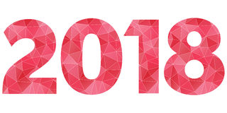 Happy New Year 2018 vector logo. Red and pink polygonal symbol isolated. Happy New Year 2018 vector red and pink polygonal symbol isolated Stock Photography