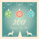 Happy New year 2017. Vector 2017 Merry Christmas & Happy New Year greeting card background with glitter, Christmad balls, reindeer, fir tree, ribbon, snow Stock Image