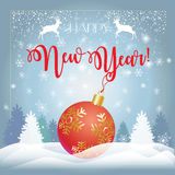 Happy New Year 2017. Vector 2017 Merry Christmas & Happy New Year greeting card background with glitter, red ball, reindeer, fir tree, snow, falling snowflakes Stock Photos