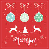 Happy New Year 2017. Vector Merry Christmas and Happy New Year 2017 greeting cards background with Christmas balls, reindeer, fir tree, snow, snowflakes and Stock Image
