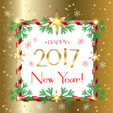 Happy New Year 2017. Vector Merry Christmas and Happy New Year 2017 greeting cards background with fir tree, snow, snowflakes and lettering on gold background Stock Images