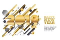 Happy New Year 2019 vector paper cut banner or greeting card. Golden numbers on motion geometric shapes background. Happy New Year 2019 vector paper cut royalty free illustration