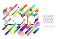 Happy New Year 2019 vector paper horizontal banner or greeting card. White paper cut numbers. Happy New Year 2019 vector paper horizontal banner or greeting vector illustration