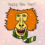 Happy New 2016 Year vector postcard with baboon monkey in scarf Royalty Free Stock Images
