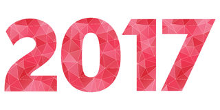 Happy New Year 2017 vector red and pink polygonal symbol isolate. Year 2017 vector red and pink poly logo isolated on white background Stock Photos