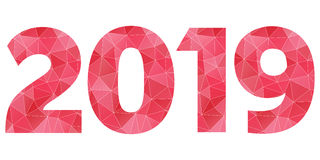 Happy New Year 2019 vector red and pink polygonal symbol isolated. Happy New Year 2019 vector red geometric logo isolated on white background Royalty Free Stock Photo