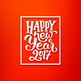 Happy New Year 2017 vector red-white greeting card Stock Photos