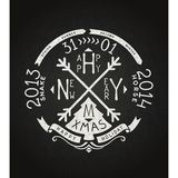 Happy new year vector retro chalkboard lettering Royalty Free Stock Photography