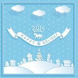 Happy new year vector retro greetings holiday. Happy winter holiday retro vector card with cartoons 3D town on blue background. eps10 Stock Illustration
