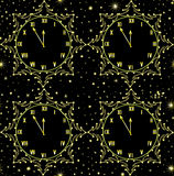 Happy New Year vector seamless pattern with golden clock showing five minutes to midnight. You can use any color of background Royalty Free Stock Photography