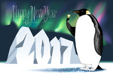 Happy new year 2017 vector seasonal greeting card. Penguin with champagne, wine funny nonstandard celebration illustration. Design element with Happy New Year Stock Photos