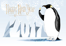 Happy new year 2017 vector seasonal greeting card. Penguin drinking champagne funny cute illustration. Design element with Happy New Year hand drawn lettering Royalty Free Stock Photo