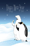 Happy New Year 2017 vector seasonal greeting card. Penguin, polar bear characters drinking champagne funny illustration. Design element with Happy New Year Royalty Free Stock Photography