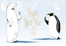 Happy New Year 2017 vector seasonal greeting card. Penguin, polar bear cute characters drinking glass o Stock Images