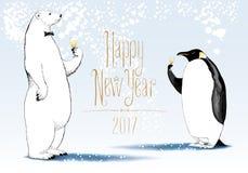Happy New Year 2017 vector seasonal greeting card. Penguin, polar bear cute characters drinking glass o. F champagne funny nonstandard illustration. Design vector illustration