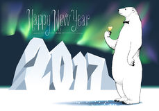 Happy new year 2017 vector seasonal greeting card. Polar bear with champagne, wine funny nonstandard celebration illustration. Design element with Happy New vector illustration