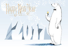 Happy new year 2017 vector seasonal greeting card. Polar bear drinking champagne funny cute illustration. Design element with Happy New Year hand drawn royalty free illustration