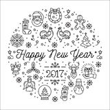 Happy New Year 2017 vector template, Elegant minimal flat design. Happy New Year 2017 design template, Vector trend circle composition. Creative Christmas Royalty Free Stock Photo