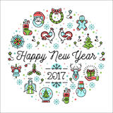 Happy New Year 2017 vector template, Minimalistic Holiday greeting card. Happy New Year 2017 design template linear icons, Vector trend circle composition Stock Photo