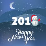 Happy New Year. Vector text Calligraphic Lettering design card template. PF 2018. Cute snowman and xmas hat on snow christmas wint Stock Photo