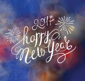 Happy New Year Vector Text . Greeting Card with Lettering on the Abstract Celebration Background vector illustration