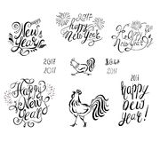 Happy New Year Vector Text with Symbol of 2017 . Lettering Set and Rooster Stock Photos