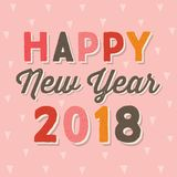 Happy new year 2018 typographic card vintage on blush pink. Happy New Year 2018, vector typographic card or poster template in hipster colors on blush pink stock illustration