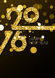 Happy New Year 2016 vertical greeting card with golden glitter t. Exture. Abstract holiday black glowing vector background with place for text. Trendy design Stock Photography