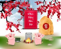 Happy new year 2019 in Vietnamese and chinese new year royalty free illustration