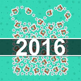 Happy new year 2016 Vintage card. Celebration background. With Christmas gift box and place for your text. Vector Illustration Royalty Free Stock Photography