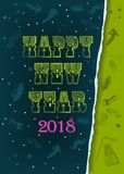 Happy New Year 2018. Vintage card Stock Images