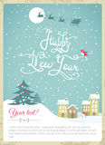 Happy new year vintage card. Happy New year card - Vector Illustration with New Year lettering Stock Images
